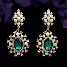 18K Gold GP Pearl Green Crystal Rhinestone Chandelier Drop Dangle Earrings 8819