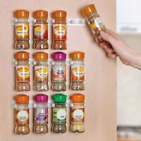 10PCS Wall Cabinet 16 Clips Kitchen Spice Gripper Strip Jar Rack Storage Holder