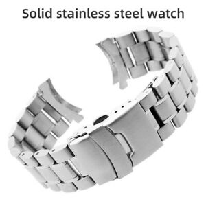 Curved Stainless Steel Metal Solid Watch Band Strap Clasp Replacement 18-22mm GA