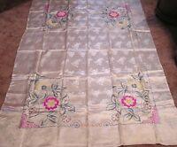 Vintage Tablecloth & Napkins Satin Damask Needlework Flowers Pink Ylw Grn 1940s