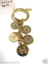 COACH Crystal Key Chain Letters Charm Key Fob Accessory Gold Authentic 69939