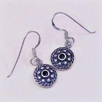 Vtg Sterling Silver Handmade Earrings, 925 Bali Circle W/ Obsidian N Bali