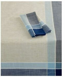 """HOME WEAR - Hudson Easy Care Natural &Navy 60 x 120"""" Oblong Tablecloth"""