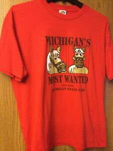 "Michigan State Fair - ""Michigan's Most Wanted"".  Red Shirt.  XL."