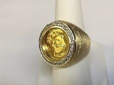 24K 1/10 oz CHINESE PANDA BEAR COIN IN 14K SOLID GOLD COIN 24MM RING with .36TCW