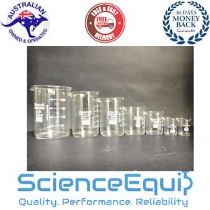 Glass Beakers Set Low Form Beaker Kit - 5,10, 25, 50,100ml 1 each - 5pc/SET