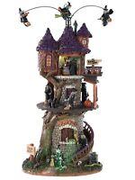 Lemax Spooky Town Witches Tower Rare VHTF NIB Sights & Sounds Halloween Village