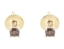 10K Yellow Gold Brown Cognac Diamond Round Cut Solitaire Stud Earring 0.26Ct.