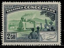 Belgium Colony BELGIAN CONGO 1948 Mint Stamp - Railroad Train and Map