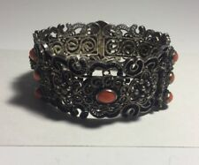 Vintage Polish Sterling Silver Filigree & Red Coral 1960s Chunky Bracelet