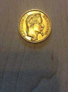 NAPOLEON lll - Gold coin - 20francs - 1865 - LAUREATE HEAD