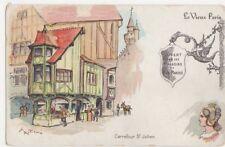 Le Vieux Paris, Carrefour St. Julien Bon Marche Advertising Postcard, B179