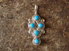 Silver Turquoise Multi-stone Pendant Zuni Indian Jewelry Sterling