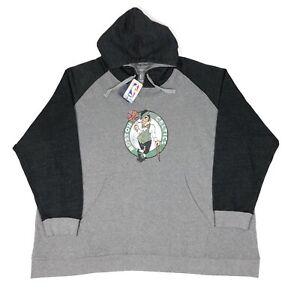 Boston Celtics NBA Fanatics Mens 6XLB Big Gray Distressed Logo Hoodie Sweatshirt