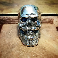 Bearded Sterling Silver Skull Ring Rock Biker Style ( Available in all sizes)