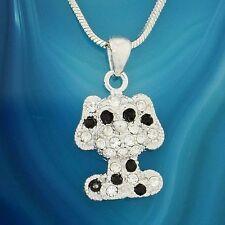 Dog w Swarovski Crystal Black Clear Puppy Pet Pendant Necklace Gift Jewelry