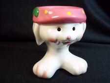 "Bunny egg cup pink polka dot hat big feet 3"" tall Easter"
