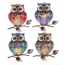 Bright Metallic Owl Small Plaque Wall Art Home Decor Hanging Decoration Gift