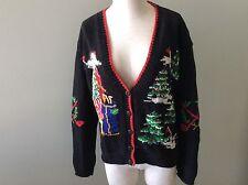 EP Pro Golf Cardigan Sweater Knit Christmas M Medium Santa Claus Bag Tree Club V
