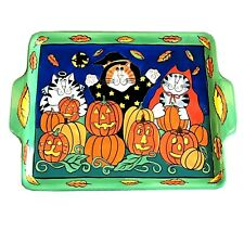 Catzilla Halloween Serving Tray Platter Candace Reiter Devil Angel Witch 13�x17�