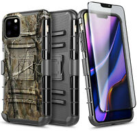For iPhone 11 / 11 Pro Max Case Belt Clip Holster Armor Cover + Tempered Glass