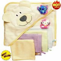 Baby Bath Gift Set Hooded Towel 6 Washcloths 2 Suction Cup Hooks Massage