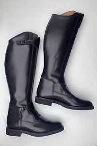Worn Once Spanish Tall Leather Polo Riding Boots U.K. 8.5 Slim Leg Chocolate