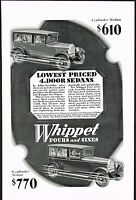 1928 Original Vintage Whippet Four Six Sedan Motor Car Automobile Art Print Ad