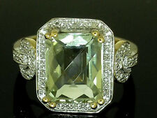 R232 Genuine 9ct SOLID Gold Huge NATURAL Green Amethyst Diamond Ring size M