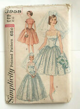 Vtg Simplicity Wedding Dress Pattern 3958 Gown + Slip Sz 12 Full Skirt Uncut