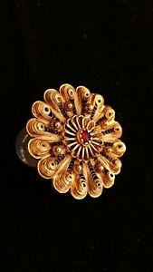 ANTIQUE GREEK TRADITIONAL JEWELRY VERMEIL GOLD SILVER BROOCH PIN THESSALY EPIRUS
