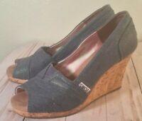 Toms Stella Cork Wedge Heels Peep Toe Chambray Blue Denim Wash Shoes 6