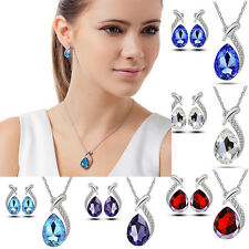 Women Wedding Bridal Crystal Pearl Rhinestone Necklace Earrings Jewelry Set HOT