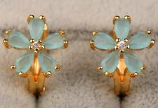18K Yellow Gold Filled - Opal Blue Topaz Flower Clover Wedding Lady Earrings