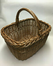 Hand Crafted Square Wicker Willow Basket Loop Handle Decor Floral Basket 34cm