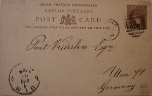 1894: 5 cents on 10 cents brown Postcard: Colombo to Ulm.