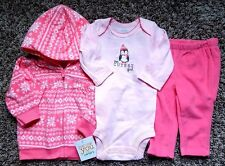 NWT Girl's Size 3M 0-3 Month 3 Piece Carter's Pink Jacket, Cutest Top & Pants