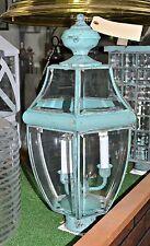 "NEW MAXIM OUTDOOR POST MOUNT 3-Candle VERDE Green Bevel Glass 6092 $400 MSRP 21"""