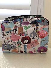 LeSportSac Cosmetic MadeUp Bag Extra Large Rectangular ART SCHOOL Authentic New