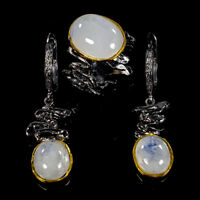 Fine Art18ct+ Natural Moonstone 925 Sterling Silver SET  Ring Size 8/R111012