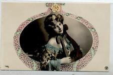 ART NOUVEAU Splendida ragazza in ovale con Lira Musica RP PC Circa 1905