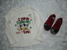 """Girls BABY GAP Shirt Sz 5T and Shoes Sz 11 """"Sledding in the Winter Time"""""""