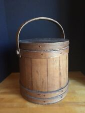 Large Antique Primitive Wooden Firkin Sugar Bucket