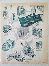 1951 Cheramy April Showers perfume powder gift sets reindeer art ad