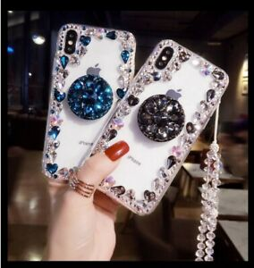 For LG Stylo 6 5 Luxury Bling Diamond Rhinestone Case Cover & Stand & Neck Strap