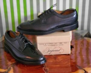 Florsheim Imperial Kenmoor Sz 9.5C Wingtip 5 Nail V Cleat Black 92604 Shoes NOS