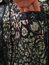 Victorias Secret Silk 2pc Pajama Set Pant And Blouse Floral DARK BLUE Small