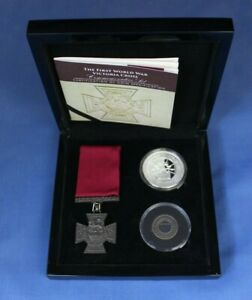 "2018 Gibraltar Silver Proof Crown & Medal Set ""Victoria Cross"" in Case / COA"
