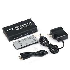 4 Port 4x1 HDMI Switch Switcher 4K 3D 1080P PIP Selector Splitter w/ IR Remote