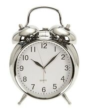 """Retro Double Bell Chrome Alarm Clock     6"""" High By 5"""" Wide"""